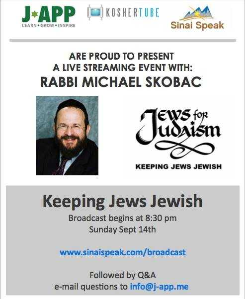 Live this Sunday - Rabbi Michael Skobac