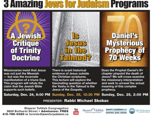 Three Amazing Programs With Rabbi Michael Skobac