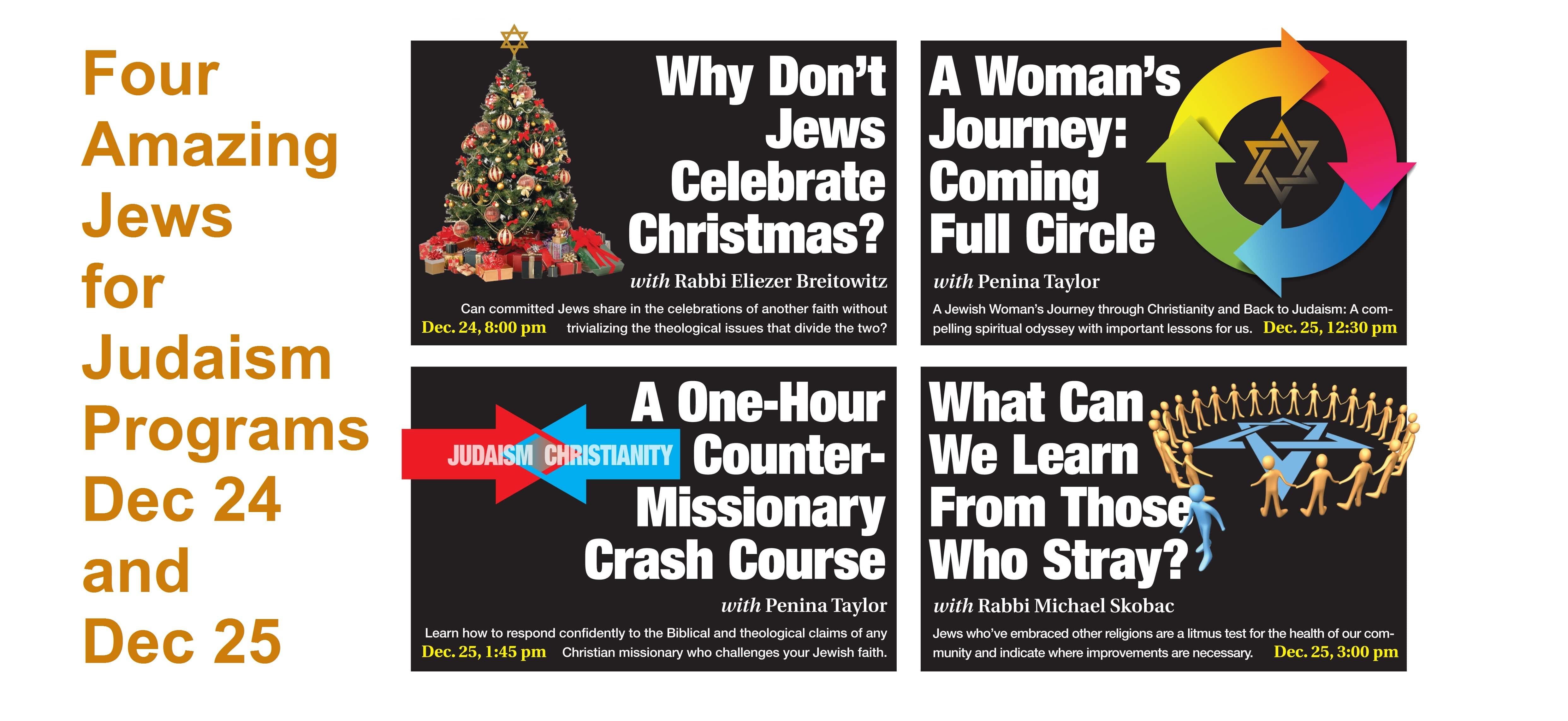 Four Amazing Jews For Judaism Programs Dec 24-25, 2017 - Jews for ...