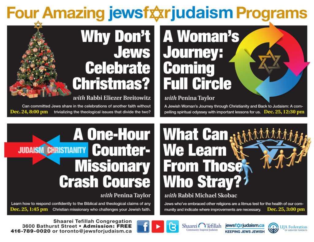 Four Amazing Jews For Judaism Programs Dec 24-25, 2017